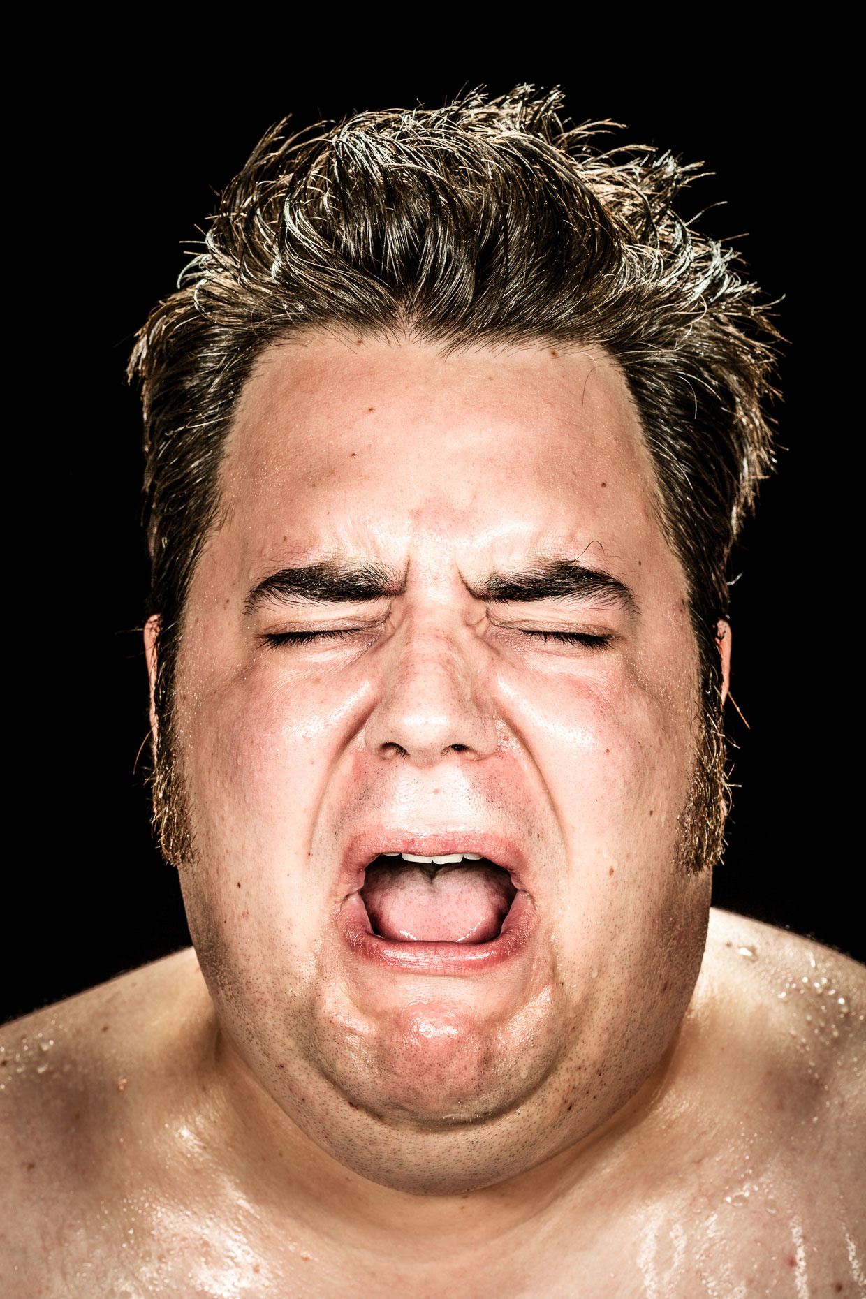 Editorial Character portrait of actor Jason Rouse crying. He