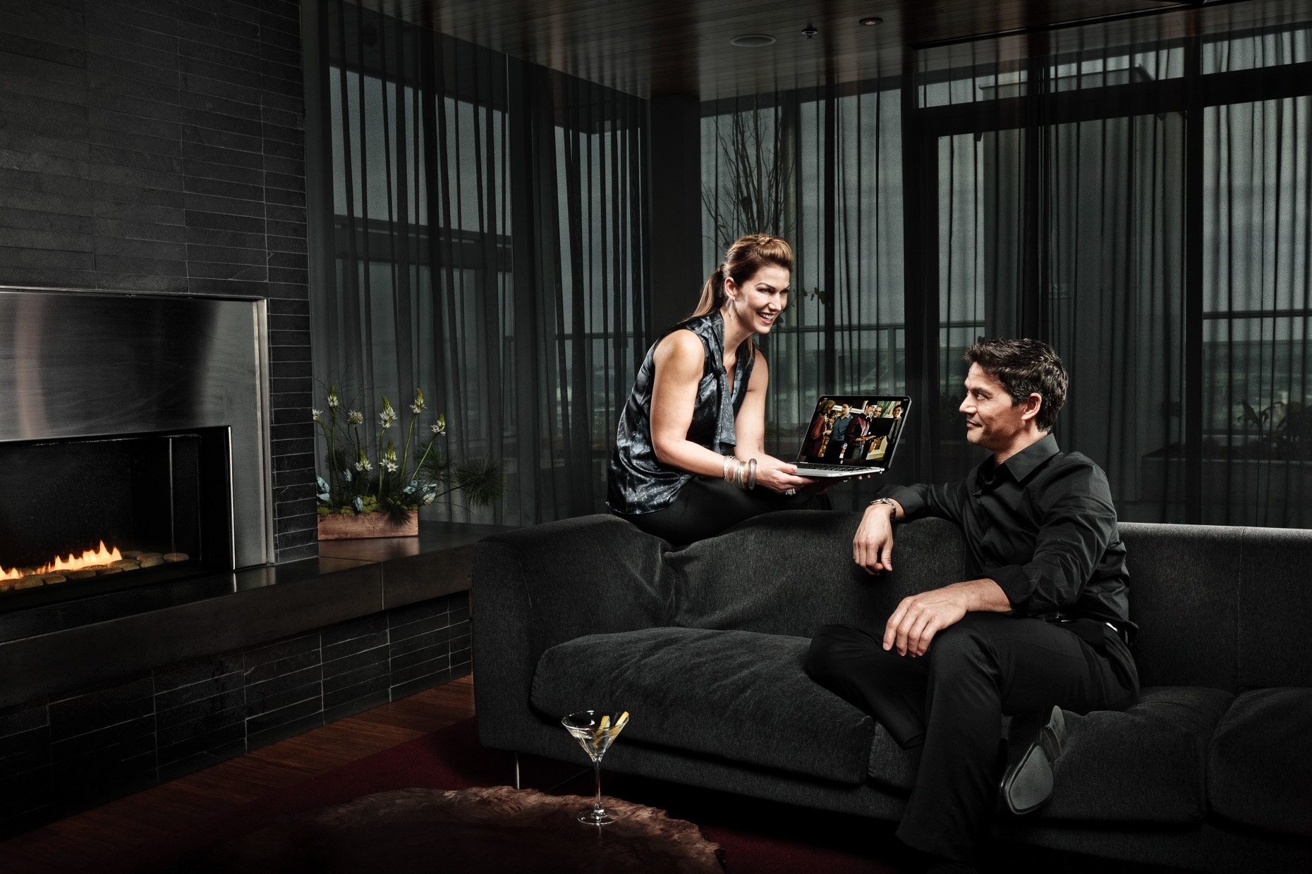 Portland models Veli Duvauchelle and Tina Kraft for HP Spectre laptop campaign in sleek Indigo penthouse by Andy Batt.