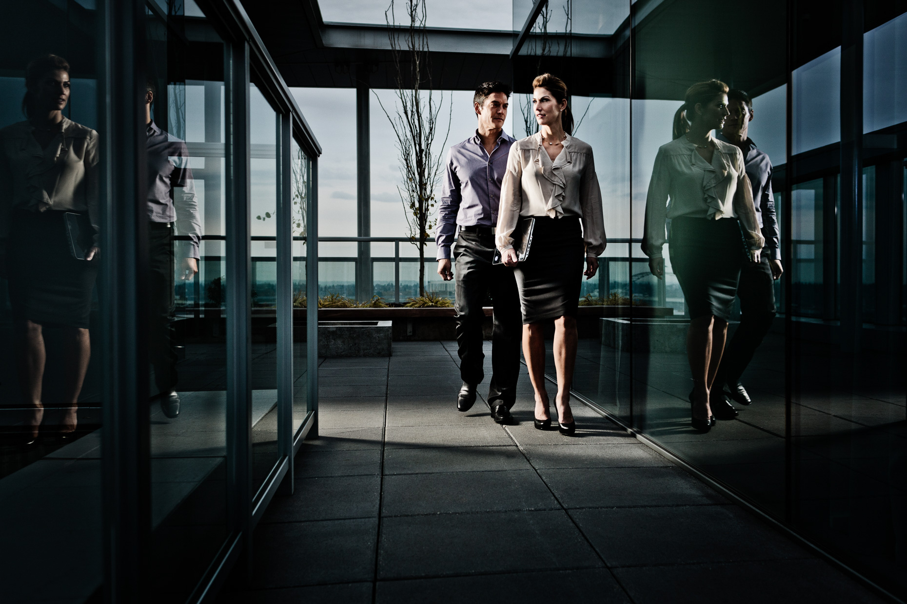 Portland models Veli Duvauchelle and Tina Kraft for HP Spectre laptop campaign in sleek Indigo penthouse by Andy Batt