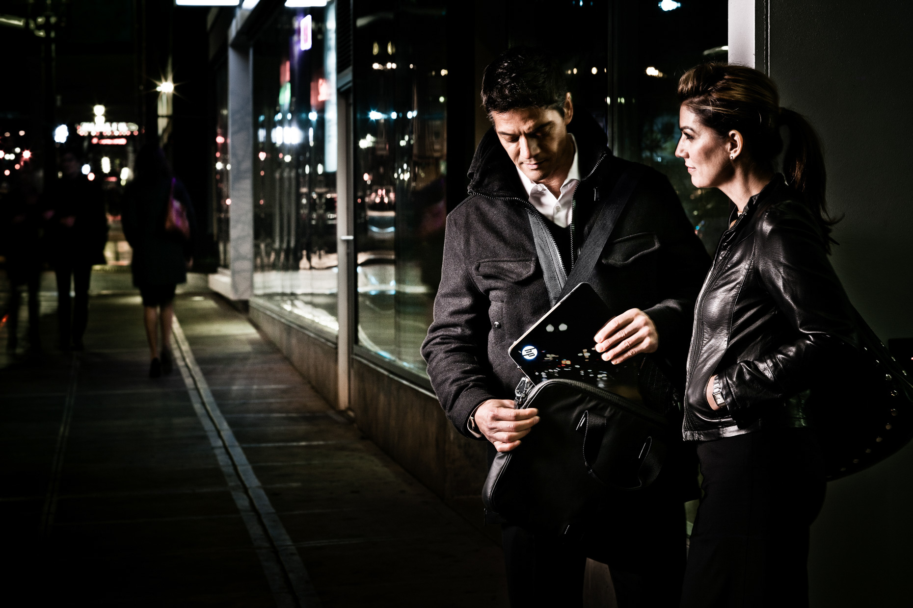 Portland models Veli Duvauchelle Tina Kraft for HP Spectre laptop campaign in urban downtown by Andy Batt.