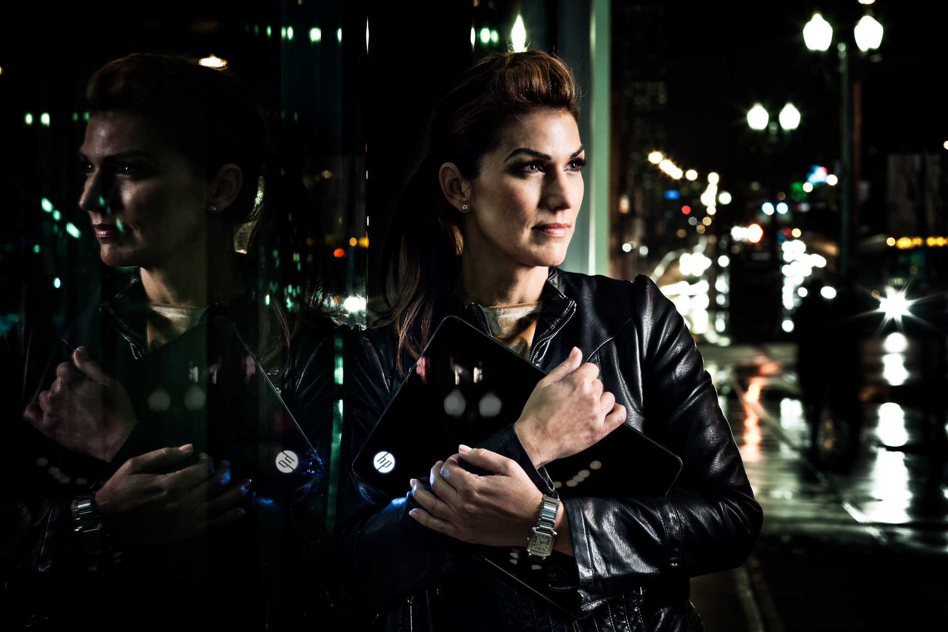 Model Tina Kraft for HP Spectre laptop campaign in urban downtown Portland by Andy Batt.