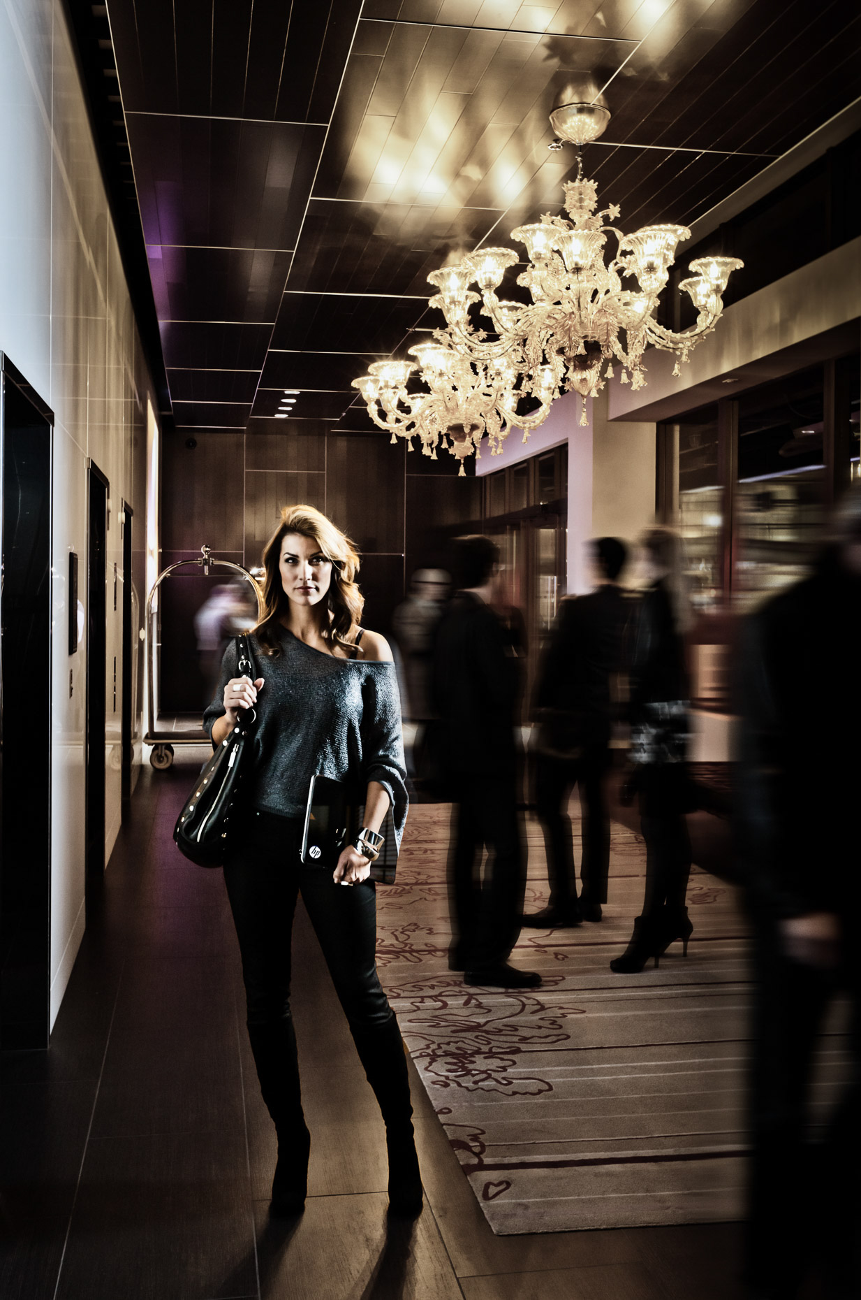 Portland model Tina Kraft for HP Spectre laptop campaign in The Nines Hotel  by Andy Batt.