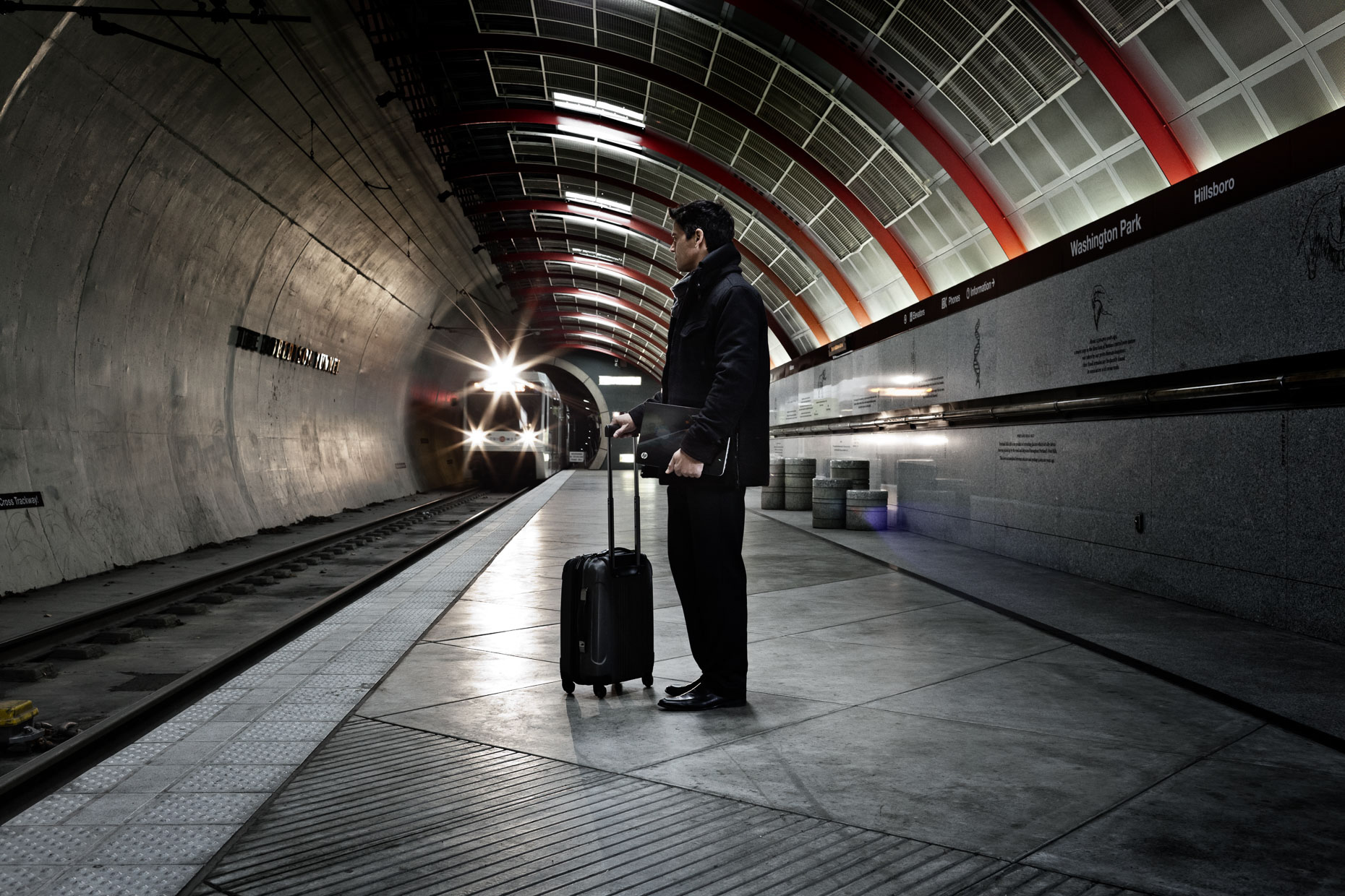 Portland model Veli Duvauchelle for HP Spectre laptop campaign at Robertson Tunnel Zoo Max Station by Andy Batt.