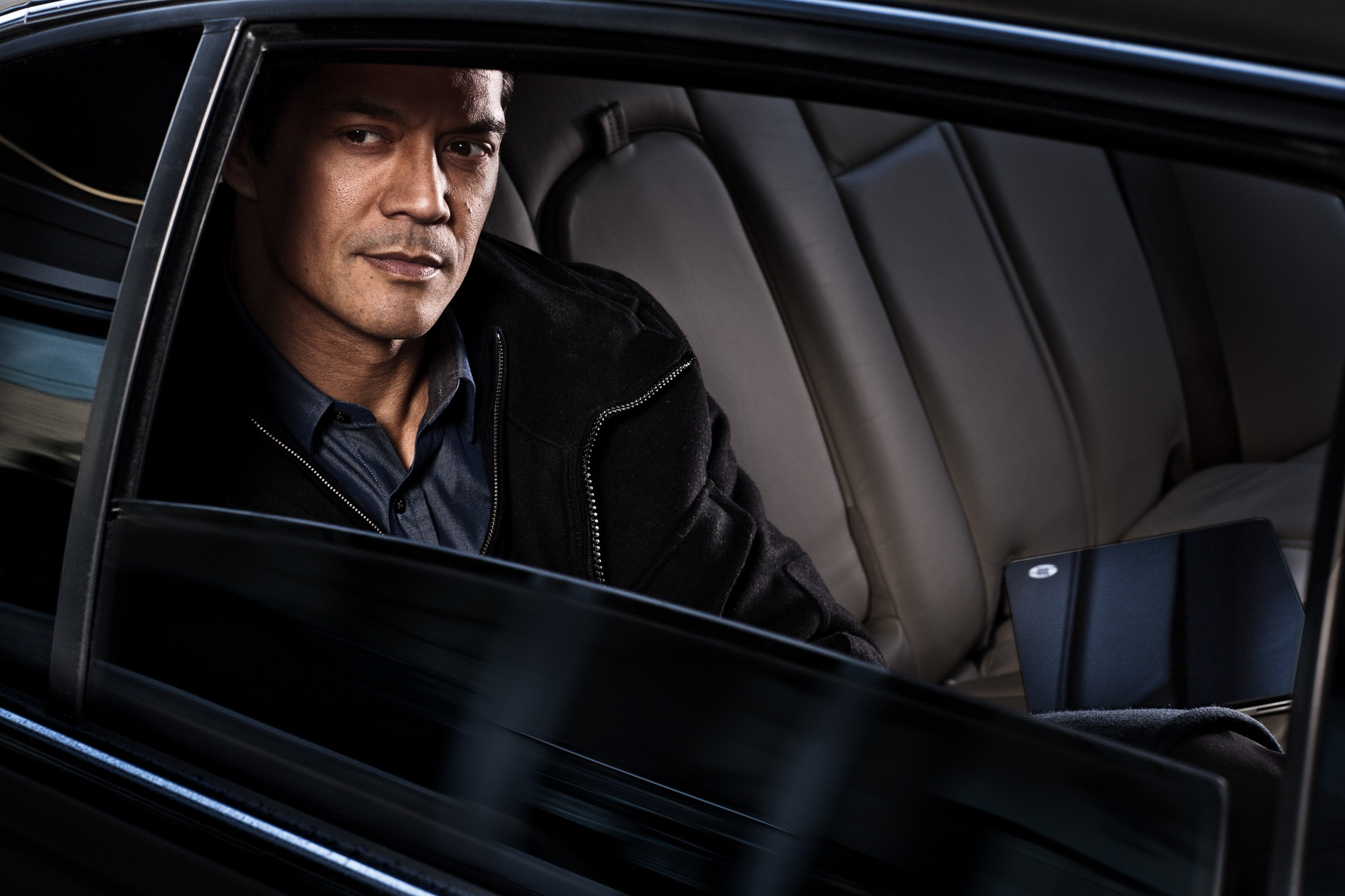 Portland model Veli Duvauchelle for HP Spectre laptop campaign in luxury Towne car by Andy Batt.