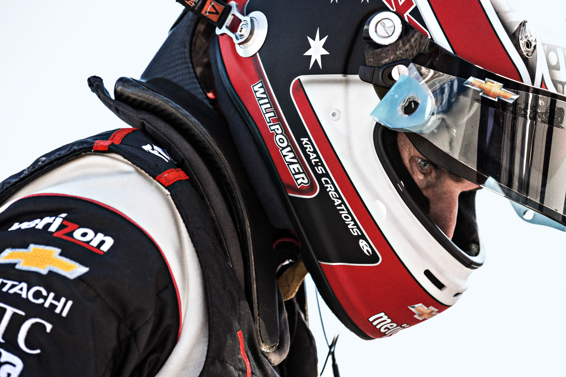 Tight editorial portrait of Racecar driver and athlete Will Power IndyCar Team Penske Charlotte Motor Speedway by Andy Batt