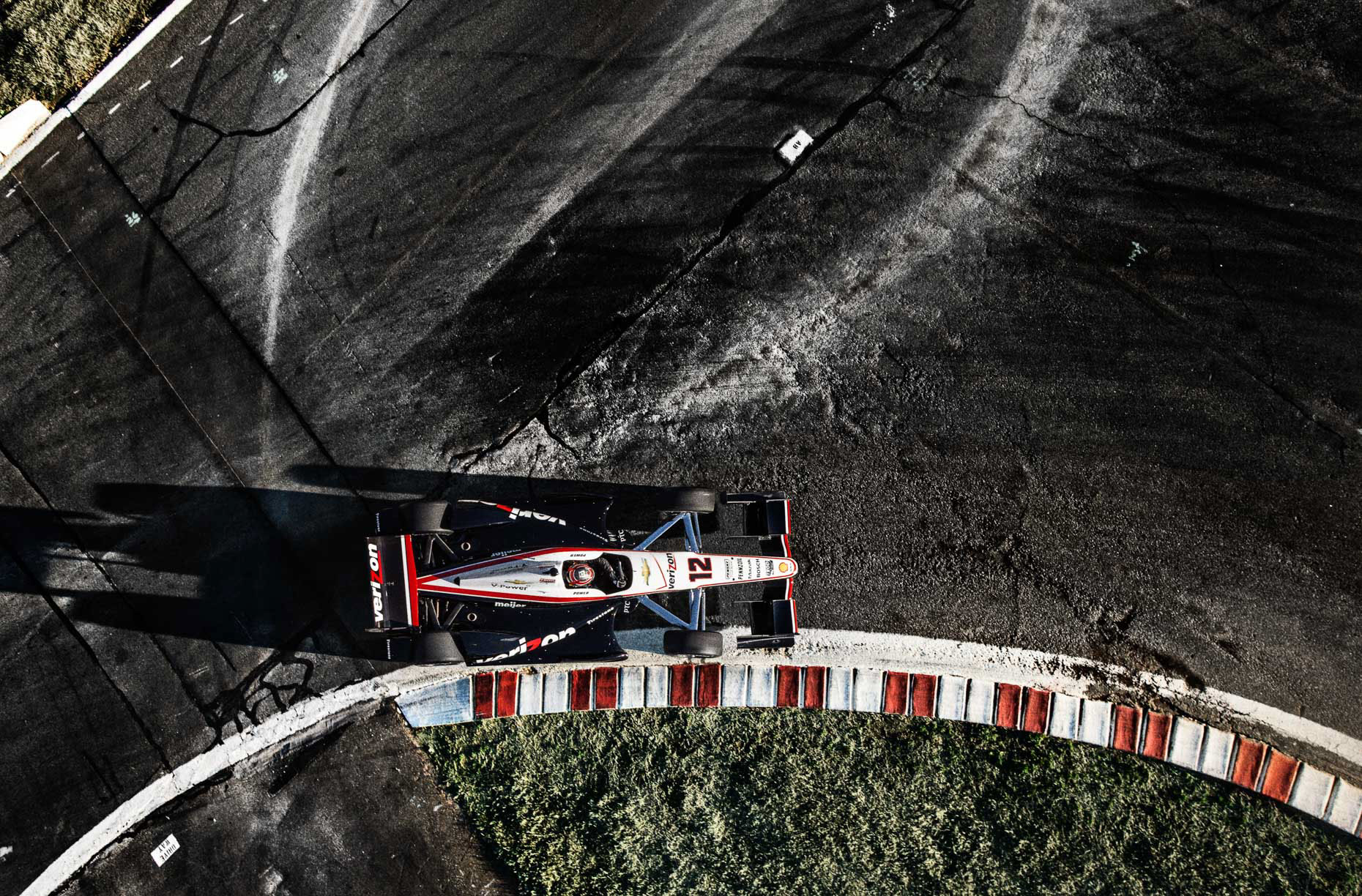 aerial drone Racecar driver Will Power IndyCar #12Team Penske Charlotte Motor Speedway by Andy Batt.