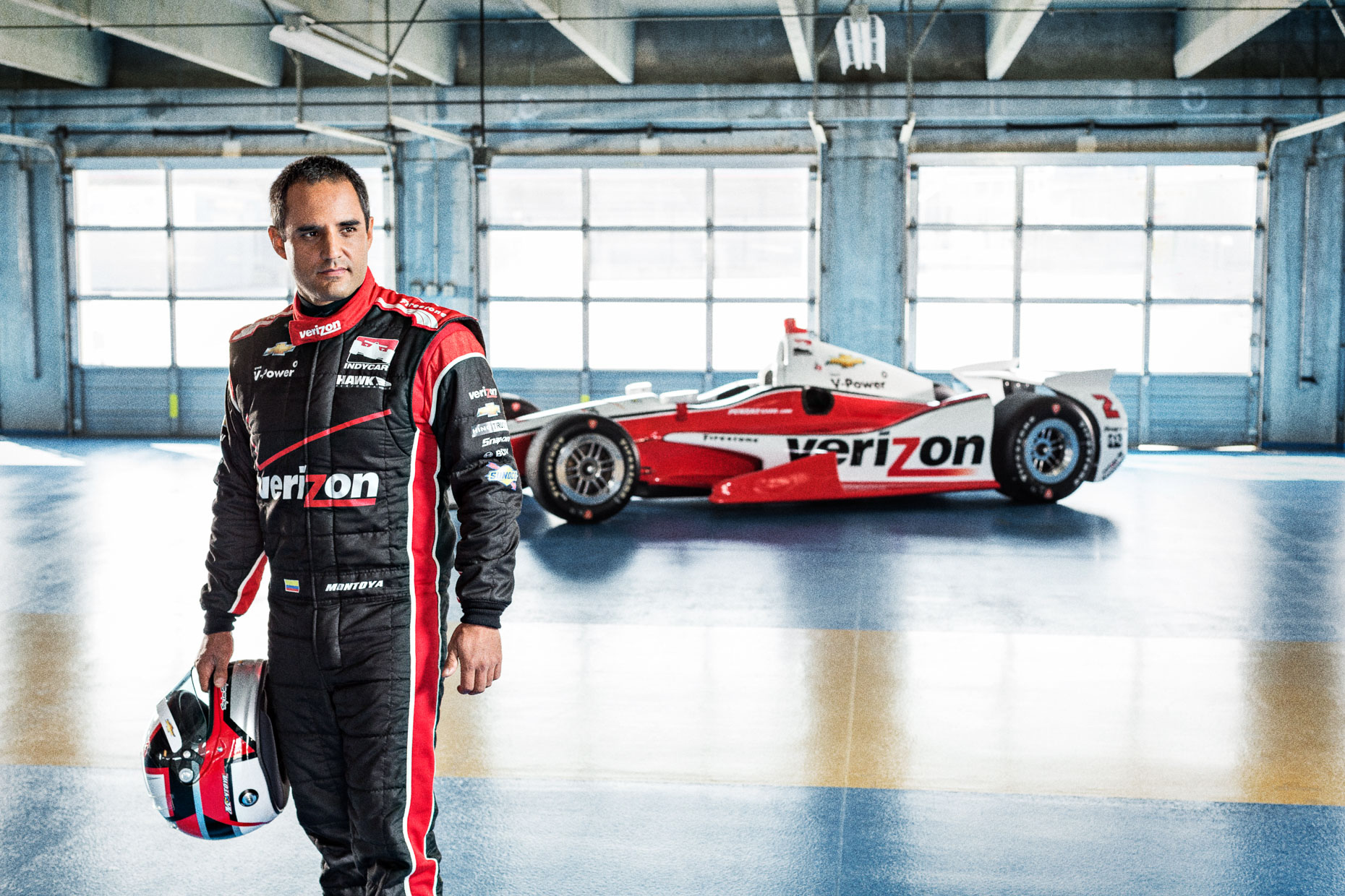 Portrait of athlete Juan Pablo Montoya IndyCar Driver Team Penske Garage Charlotte Motor Speedway by Andy Batt
