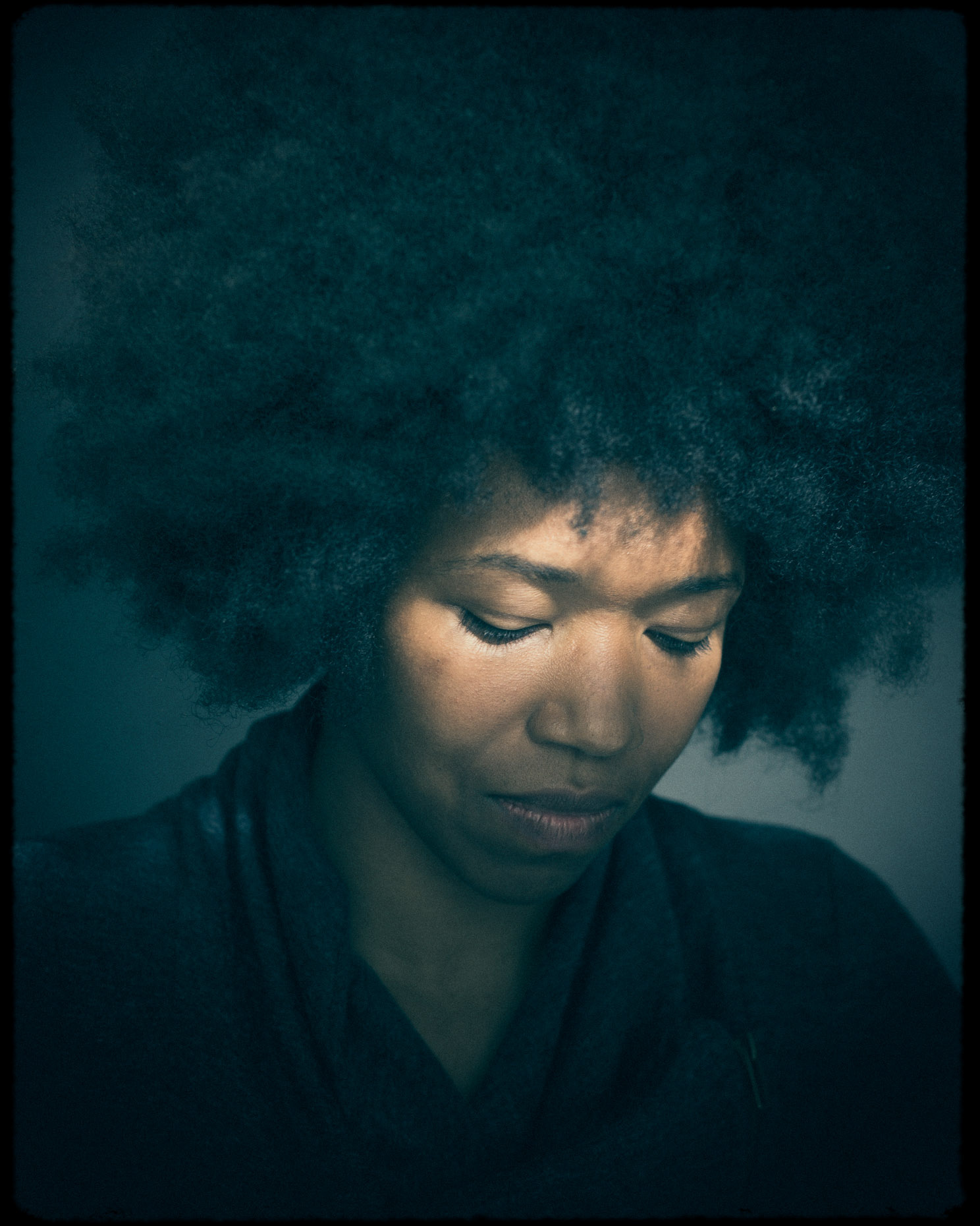 Editorial portrait of Portland Actor and founder of Conscious Coils Amber Starks light portrait by Andy Batt