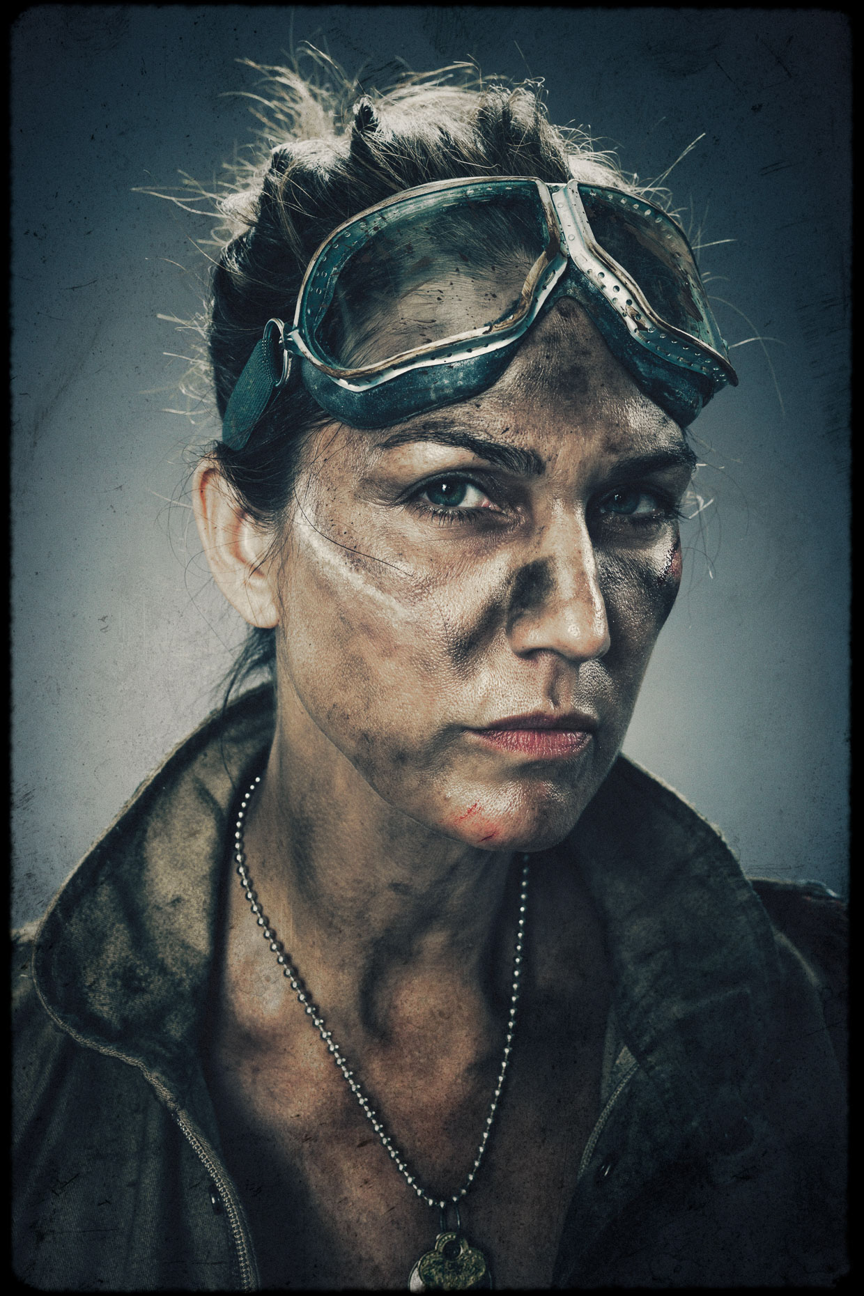 Charactrer portrait of model and actor Tina Kraft as Turner, one of 9 main characters. Introducing the apocalyptic world of Bad Choices, a visual screenplay and personal project by Andy Batt.