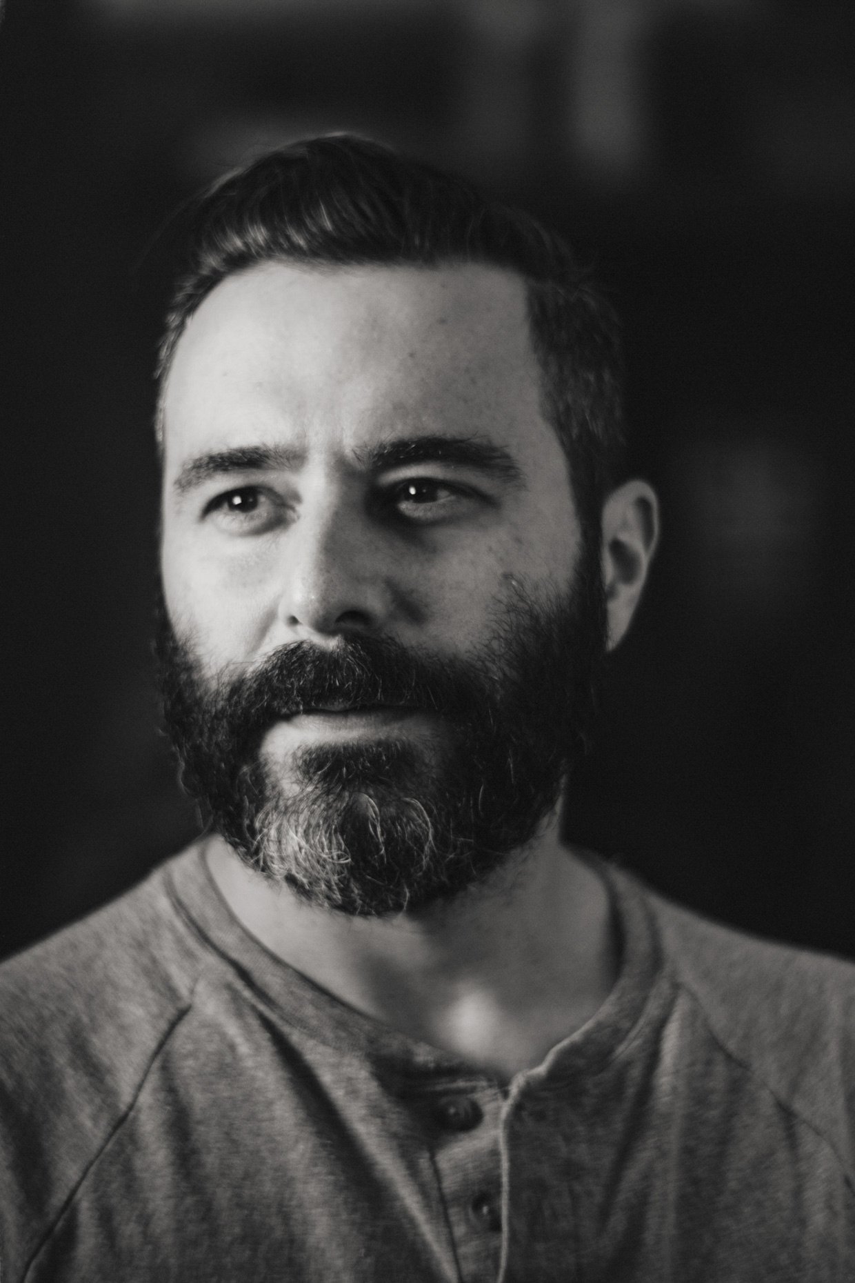 Tight B&W editorial portrait of Instagram Creative Shop creative director Spencer Mandell Photo by Andy Batt